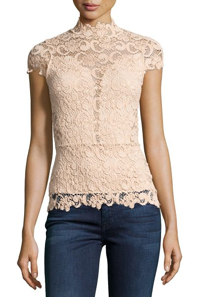 "Nightcap Day-to-Date Lace Top in nude - Nightcap Clothing ""Day-to-Date"" top in lace with solid..."