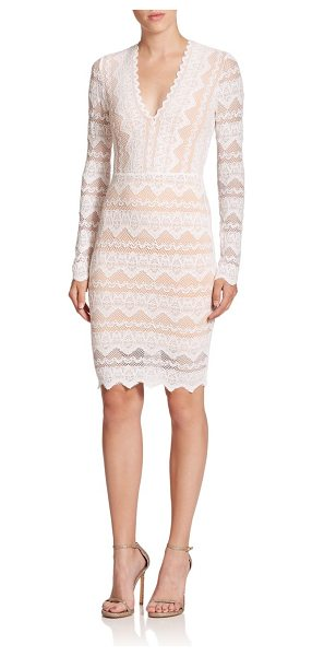 Nightcap Sierra lace deep-v dress in dove-nude