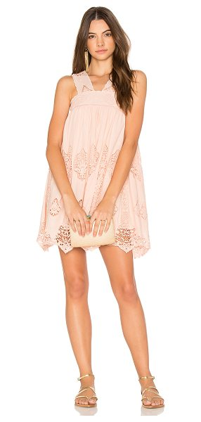 Nightcap Pixie Mini Dress in pink - 100% cotton. Dry clean only. Fully lined. Crochet lace...