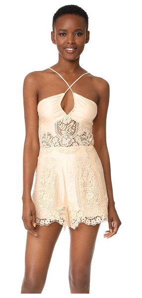 Nightcap x Carisa Rene cheeky romper in nude - Tonal lace insets add romantic detail to this...