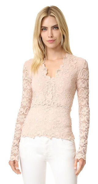 Nightcap x Carisa Rene dixie deep v lace top in nude - A romantic, V neck Nightcap x Carisa Rene top with a...