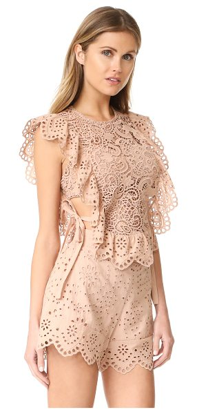 Nightcap x Carisa Rene eyelet apron top in sand - An apron-style Nightcap x Carisa Rene crop top in sheer...