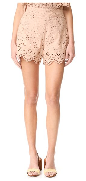 Nightcap x Carisa Rene eyelet ruffle shorts in sand - NOTE: Runs true to size. Please see Size & Fit tab....