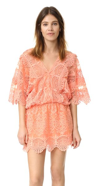 Nightcap x Carisa Rene Seashell mini dress in coral - Embroidered insets accentuate the graceful look of this...