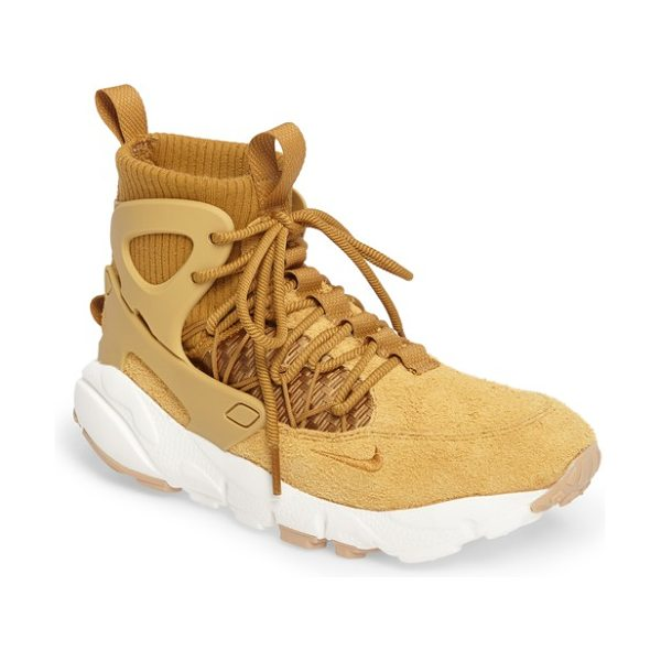 Nike air footscape mid sneaker boot in wheat/ white/ brown - This inventively deconstructed sneaker boot starts with...