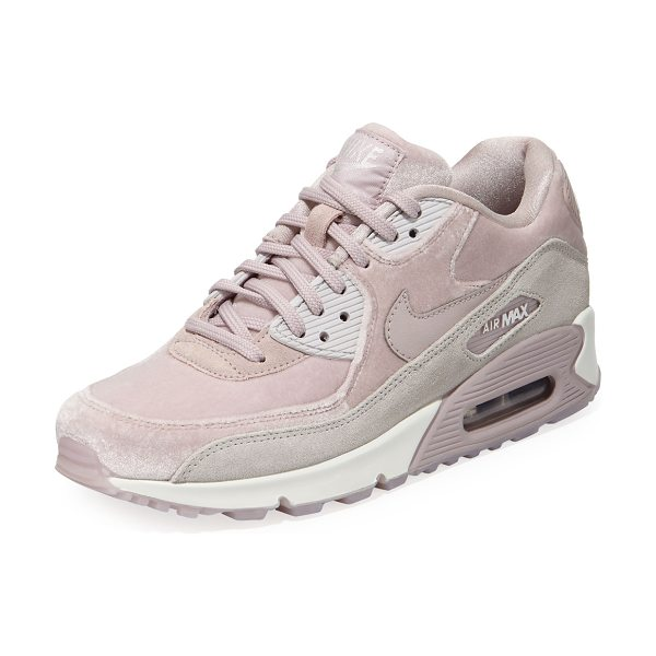 NIKE Air Max 90 LX Mixed Sneakers in particle rose gry - Nike sneaker in mixed velvet, suede and leather. Flat...