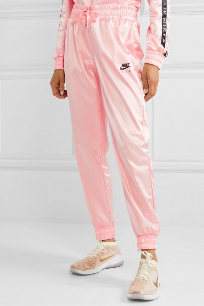 Nike air satin track pants in baby pink