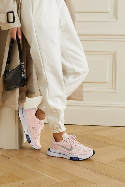 Nike air zoom-type rubber-trimmed suede sneakers in blush