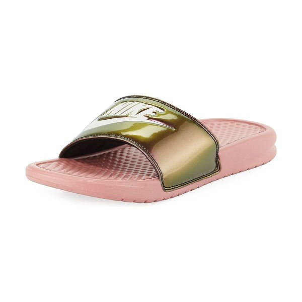 "Nike Benassi Just Do It Flat Slide Sandal in light bone/olive - Nike iridescent sandal with logo at top. 1"" platform;..."
