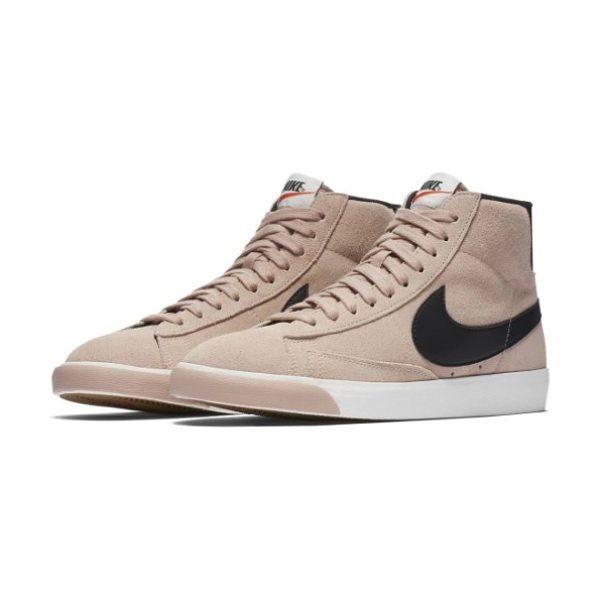 Nike blazer mid vintage sneaker in pink/ black/ ivory/ brown - This update of Nike's iconic 1972 basketball shoe...