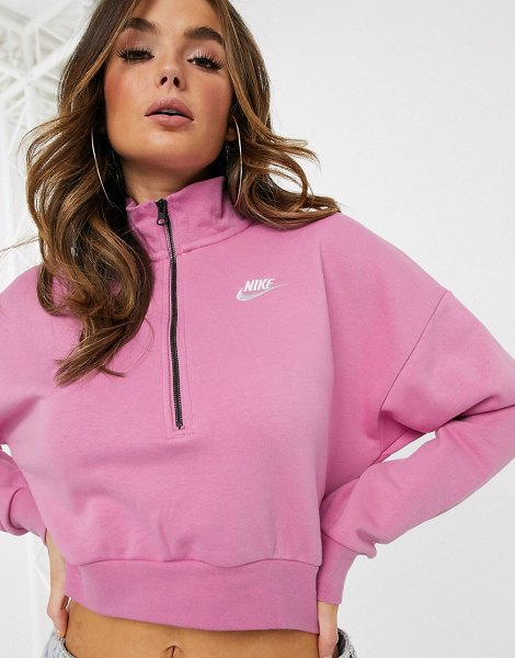 Nike essentials pink cropped high neck sweatshirt in pink