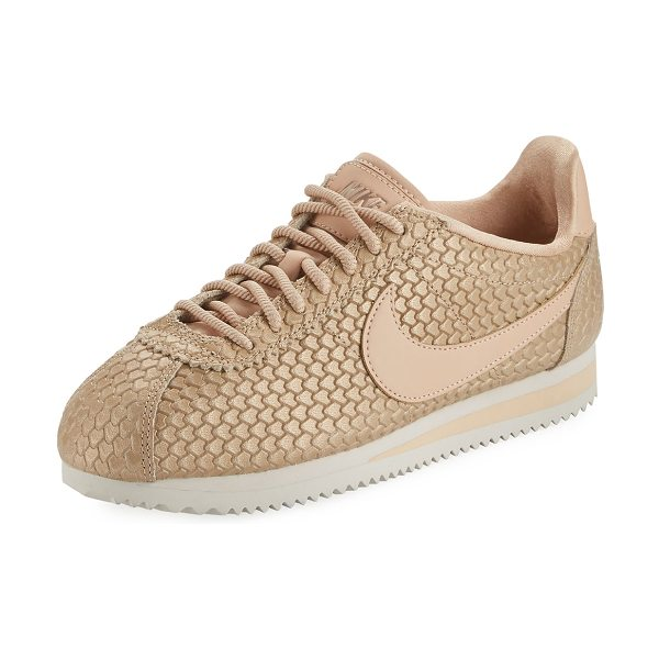 NIKE Fashion Cortez Embossed Sneaker - Nike snake-embossed leather sneaker with signature check...