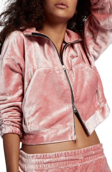 NIKE lab essentials  velour zip hoodie - Plush velour offers a lustrous juxtaposition to the...