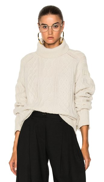 Nili Lotan Cecil Sweater in ivory - 100% cashmere. Made in China. Dry clean only. Cable knit...
