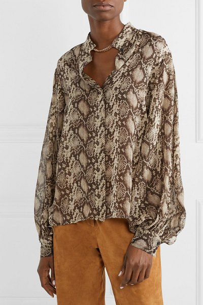 Nili Lotan evelyn snake-print silk-chiffon blouse in brown