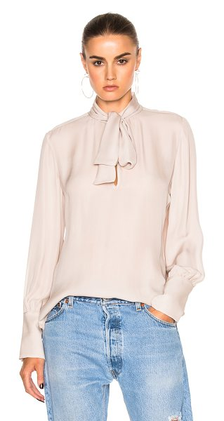 Nili Lotan Tie Neck Top in blush - 100% silk. Made in USA. Dry clean only. Front keyhole...