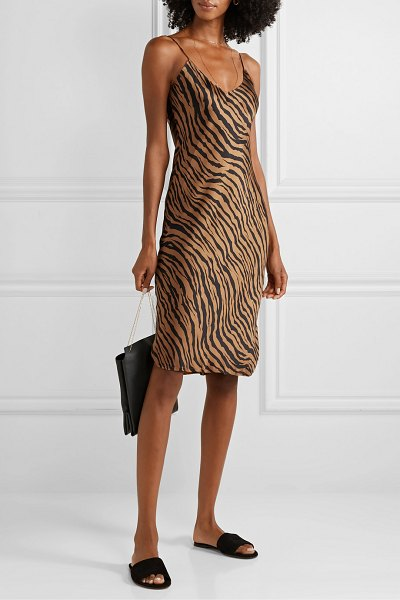 Nili Lotan tiger-print silk-satin mini dress in bronze
