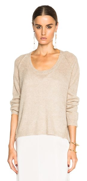Nili Lotan U neck raglan sweater in neutrals - 100% cashmere.  Made in China.  Knit fabric.  Rib knit trim.