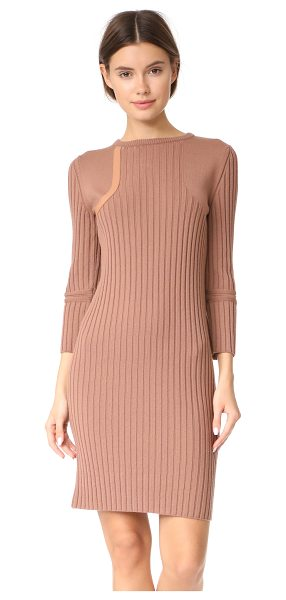 Nina Ricci knit dress in light brown - This wide-ribbed Nina Ricci dress has fine-knit panels...