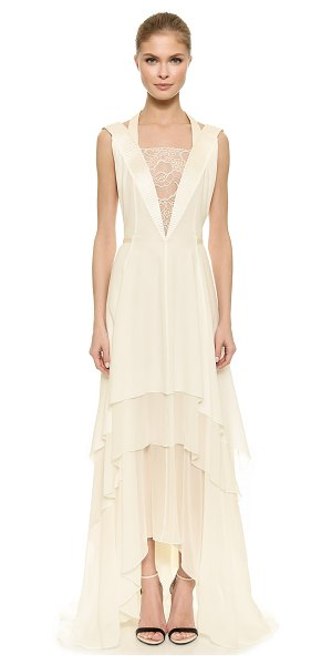 Nina Ricci Lace inset gown in natural - A lace inset offers a sheer peek of skin at the front of...