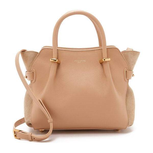 Nina Ricci Leather satchel in camel - Smooth calfskin and rich suede come together on this...
