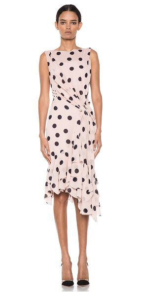 NINA RICCI Polka dot ruffle hem dress - Self & Lining: 100% silk.  Made in France.  Fully lined....
