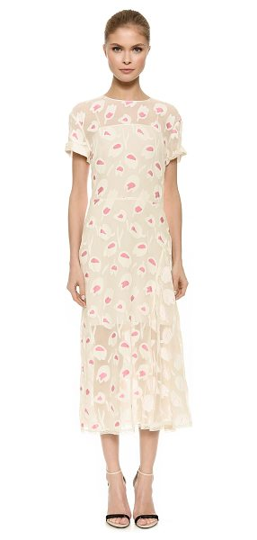 Nina Ricci Short sleeve dress in natural/rose - This feminine Nina Ricci dress is crafted in tactile,...