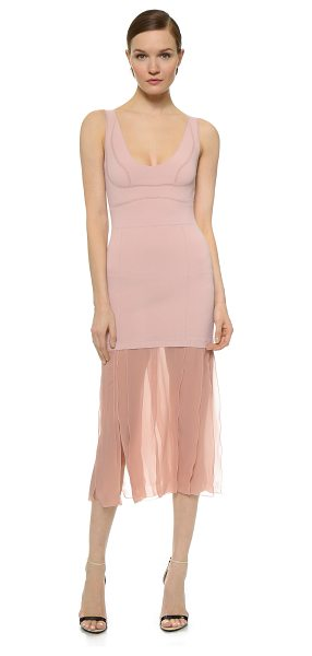 Nina Ricci Sleeveless dress in bois de rose - Airy chiffon panels fall from the hem of a double knit...