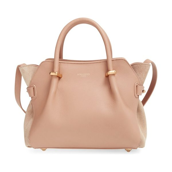 Nina Ricci Small marche calfskin satchel in tobacco - Impeccably smooth leather set off by lush tonal-suede...
