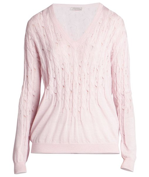 Nina Ricci wool & cashmere v-neck pullover sweater in light pink
