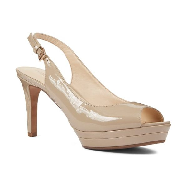 Nine West 'able' pump in taupe patent - A no-nonsense platform creates effortless height for a...