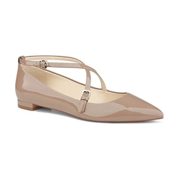 Nine West anastagia pointy toe flat in natural lux patent - Curved, slender straps crisscross the vamp of a patent...