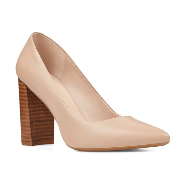 Nine West astoria pump in light natural leather - A sky-high block heel elevates a sophisticated...