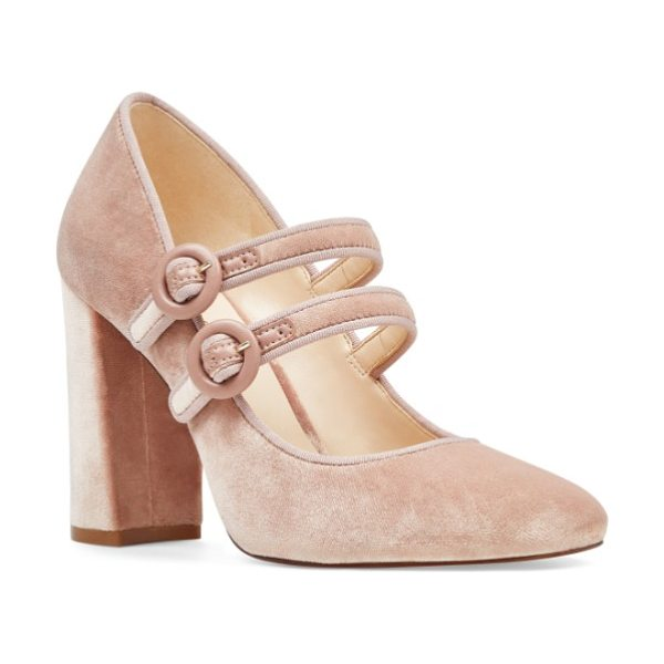 Nine West dabney double strap mary jane pump in natural fabric - Dual mary-jane straps with tonal buckles secure a preppy...
