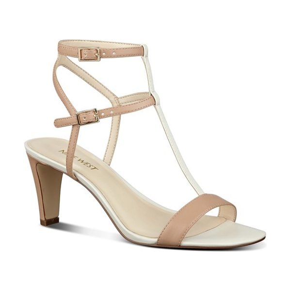 NINE WEST dacey ankle strap sandal in natural multi - Tiered ankle straps and an airy, minimalist aesthetic...