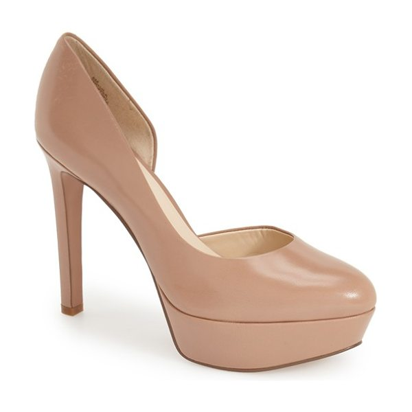 Nine West danton half dorsay platform pump in taupe leather - A classic platform pump shaped from smooth leather is...