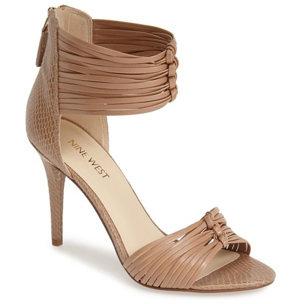 Nine West dechico ankle cuff sandal in light natural - Slender knotted straps and subtle snake embossing lend...