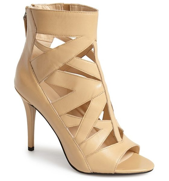 Nine West delphina bootie in nude leather - Angular cutouts provide a fierce update to an open-toe...