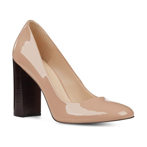 Nine West denton block heel pump in light natural patent - Step out in style with a graceful almond-toe pump set on...