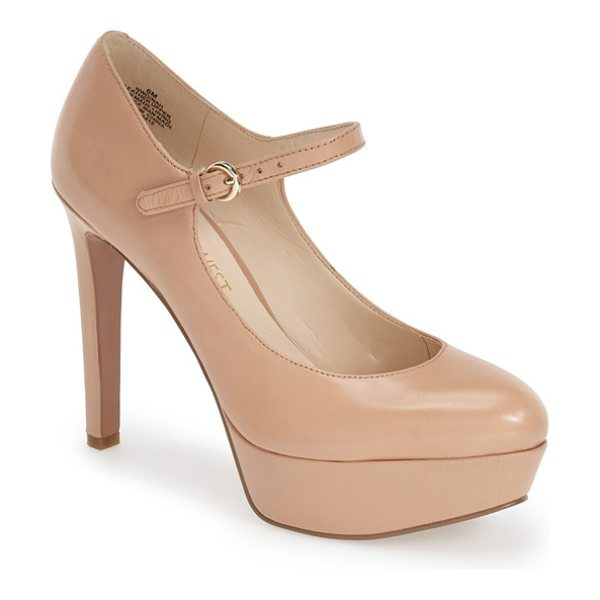 Nine West dinah mary jane platform pump in light natural leather - A bold platform sole adds a retro-chic twist to an...