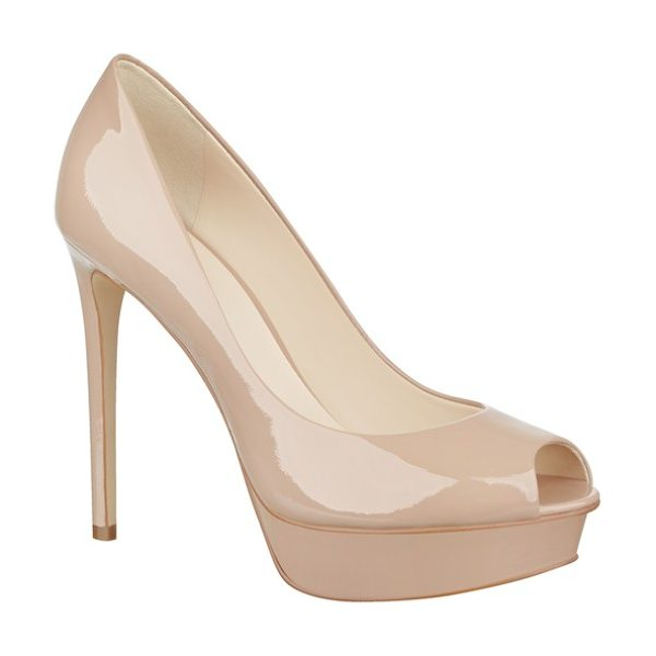NINE WEST edyln platform peep toe pump - Liquid-shine patent is a chic update to a standout...