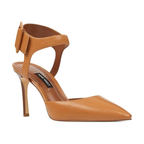 Nine West elisabeti ankle cuff pump in dark natural leather - A bold squared buckle cinches the ankle cuff of a daring...
