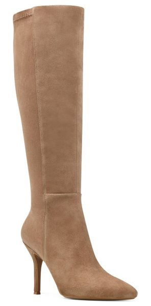 Nine West fallon pointy toe knee high boot in natural suede - Modern and minimalist, this sculpted knee-high boot is...