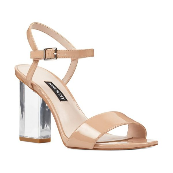 NINE WEST feisty ankle strap sandal - A transparent block heel adds bold, modern style to this...
