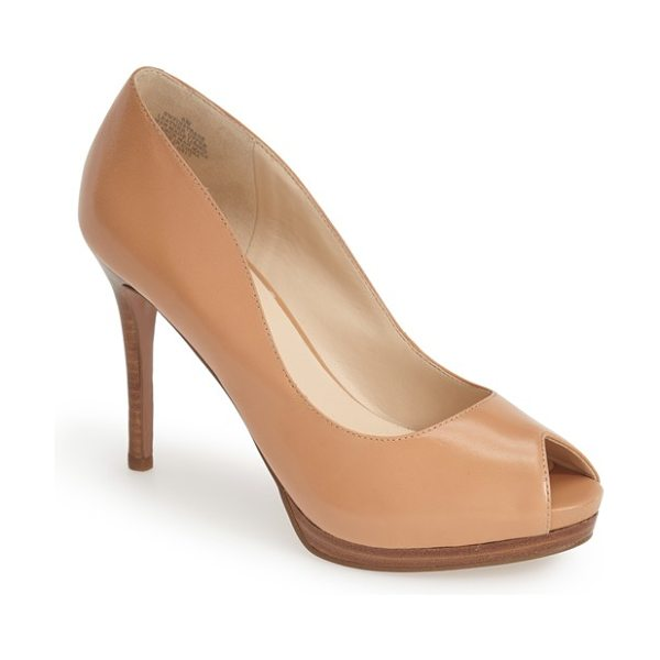 Nine West first base peep toe leather pump in natural leather - A smooth leather construction and sleek curves define an...