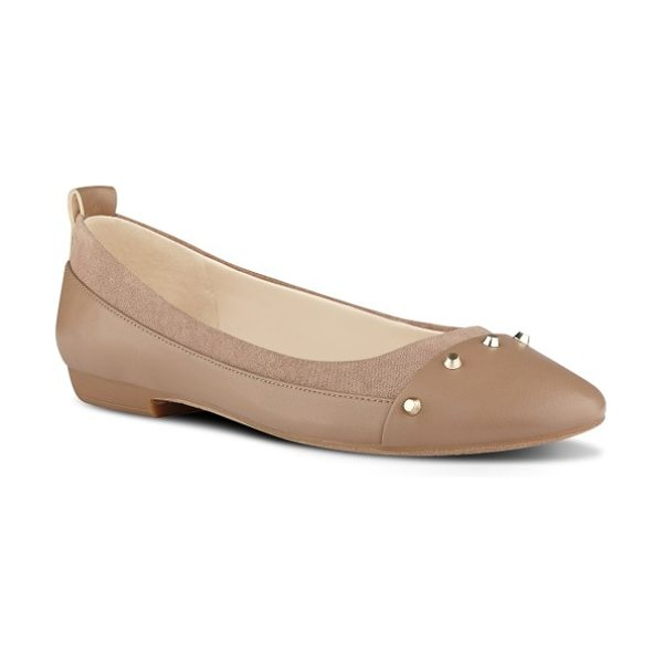 Nine West graham ballet flat in natural faux leather - A band of studs signals that these aren't your ordinary...