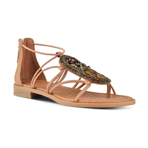 Nine West grinning embellished strappy sandal in dark natural synthetic - An oversized amulet of beads and stones and chain links...