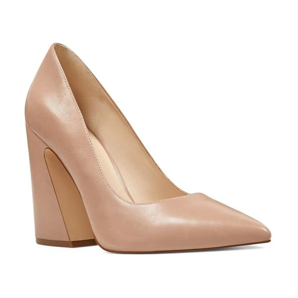 Nine West henra pointy toe pump in light natural leather - A slanted asymmetrical heel adds to the modern drama of...