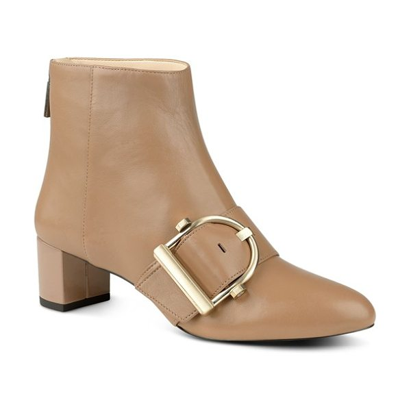 Nine West konah buckle bootie in natural leather - A striking goldtone buckle highlights the modern...