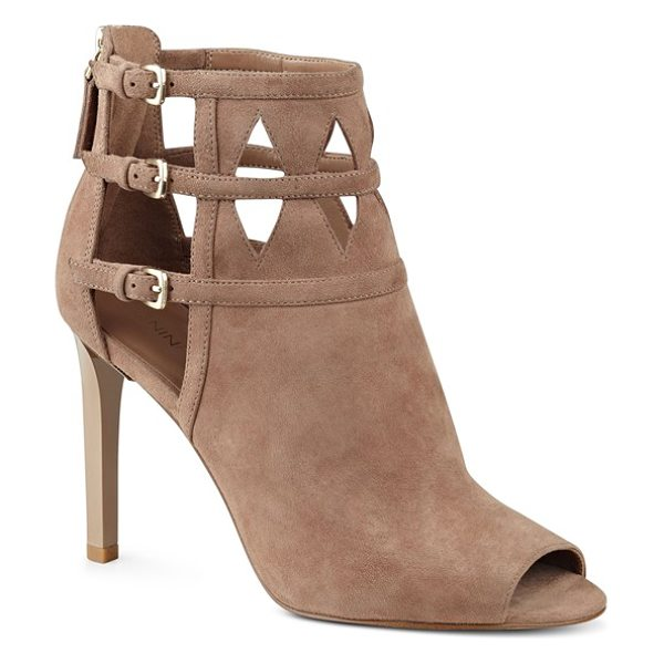 Nine West 'laulani' cutout peep toe bootie in natural suede - A trio of buckled straps overlap the intricate cutouts...